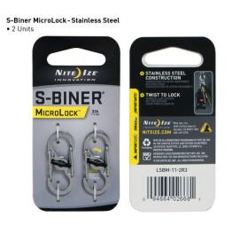 Karabińczyk Nite Ize - S-Biner MicroLock - Stainless Steel 2 szt - LSBM-11-2R3